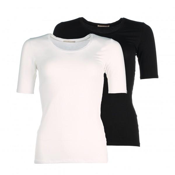 Duurzame en stijlvolle dames shirts met korte mouw van bamboe - zwart wit