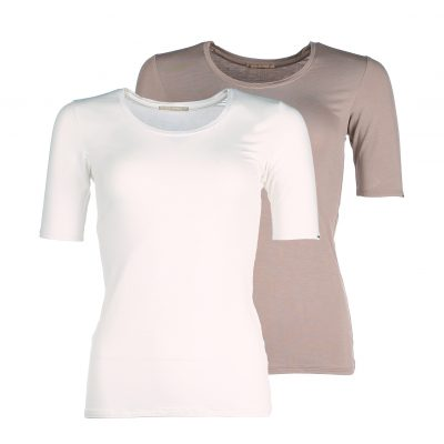 Sustainable bamboo basics - Short sleeve Ivory white - Taupe grey