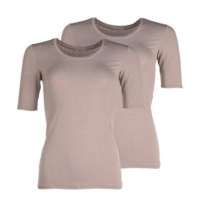 Duurzame en stijlvolle dames shirts met korte mouw van bamboe - taupe grijs