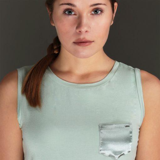 women's green sleeveless top