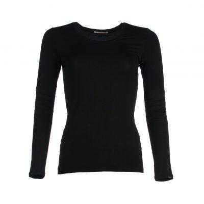 Zwart shirt bamboe - lange mouwen dames