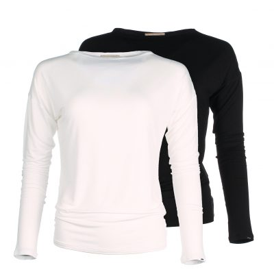 Long Sleeve shirt - Boat neck - Ivory White - Black