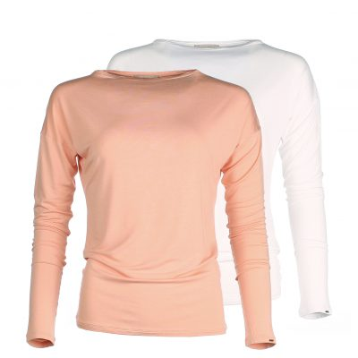 Long Sleeve shirt - Boat neck - Ivory White - Apricot orange