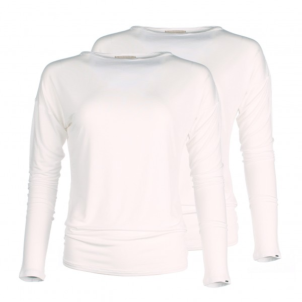 Long Sleeve bamboo shirt - Boat neck - Ivory White