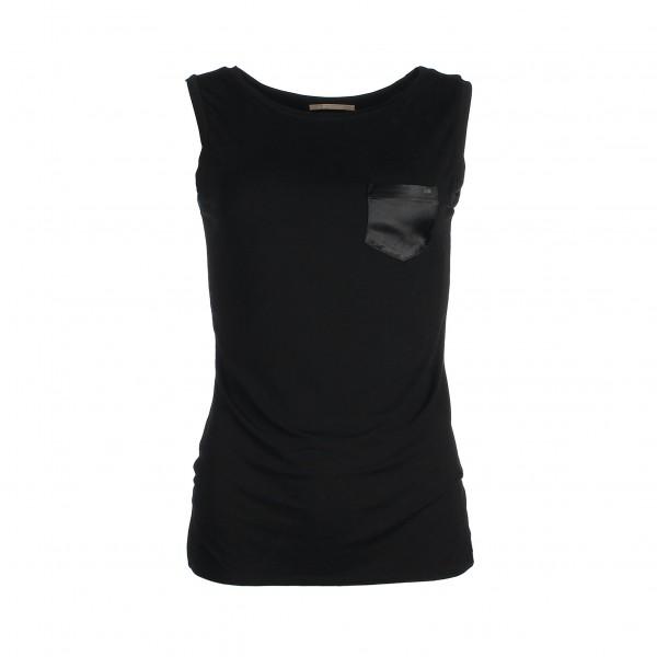 Sleeveless chest-pocket top bamboo - Zwart - Mouwloze top borstzakje - zwart