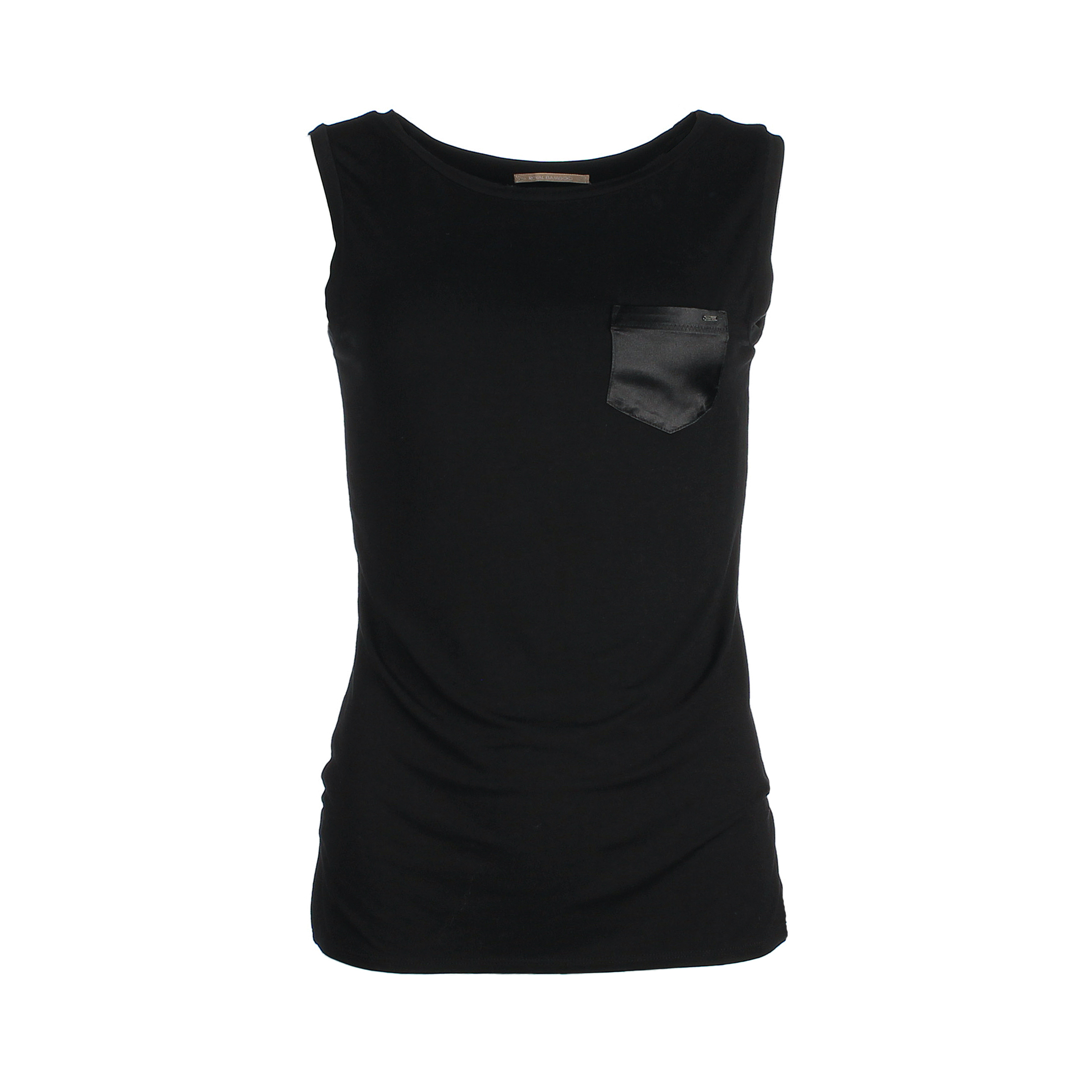 Sleeveless chest-pocket top bamboo - black - Mouwloze top borstzakje - zwart