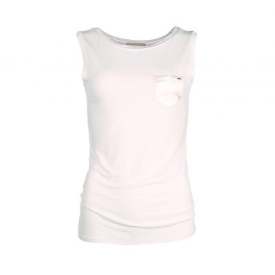 Sleeveless top bamboo - white - Mouwloze top - wit